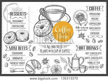 Coffee menu placemat food restaurant brochure coffee shop template design.