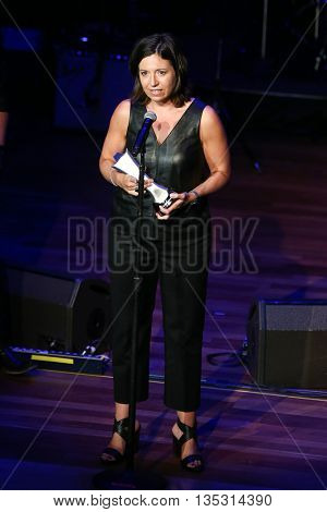 NASHVILLE, TN-SEP 1: Sally Williams accepts the Don Romeo Talent Buyer of the Year award during the 9th Annual ACM Honors at the Ryman Auditorium on September 1, 2015 in Nashville, Tennessee.