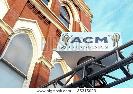NASHVILLE, TN-SEP 1: General signage at the 9th Annual ACM Honors at the Ryman Auditorium on September 1, 2015 in Nashville, Tennessee.