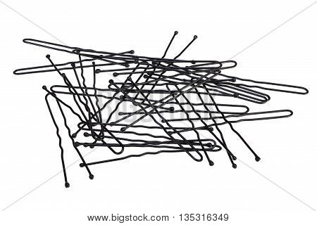 Black hairpins on white background with Clipping Path