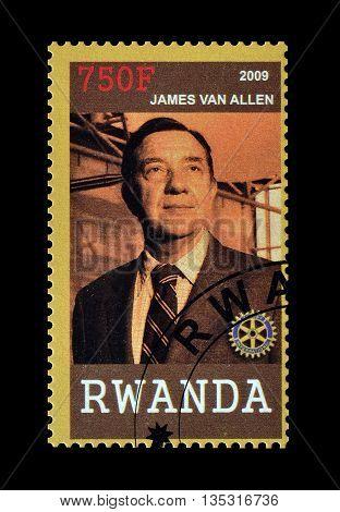 RWANDA - CIRCA 2009 : Cancelled postage stamp printed by Rwanda, that shows James van Allen.