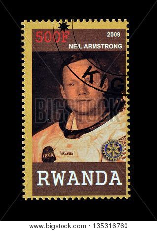 RWANDA - CIRCA 2009 : Cancelled postage stamp printed by Rwanda, that shows Neil Armstrong.