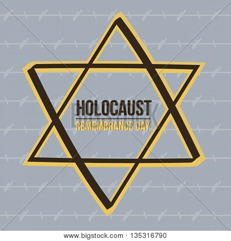Holocaust remembrance, memorial day card. Yom Hashoah vector illustration.