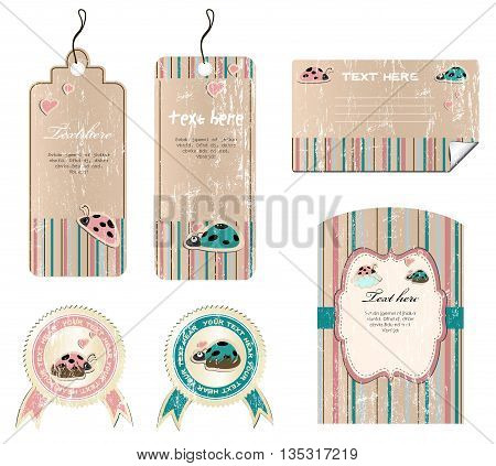 vector set of tags stickers and cards with ladybirds in love EPS8