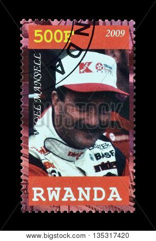 RWANDA - CIRCA 2009 : Cancelled postage stamp printed by Rwanda, that shows Nigel Mansell.