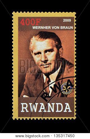 RWANDA - CIRCA 2009 : Cancelled postage stamp printed by Rwanda, that shows Wernher von Braun.