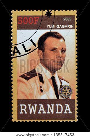 RWANDA - CIRCA 2009 : Cancelled postage stamp printed by Rwanda, that shows Yuri Gagarin.