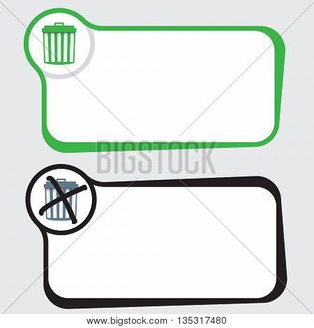Set of two vector text frames and trashcan