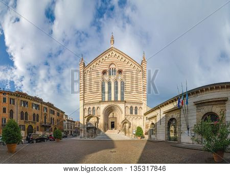 VERONA, ITALY - SEPTEMBER 5, 2015: Facade of the church of the San Fermo Maggiore (Saints Fermo and Rustico). Built in the romanesque and gothic style. Verona, Italy.