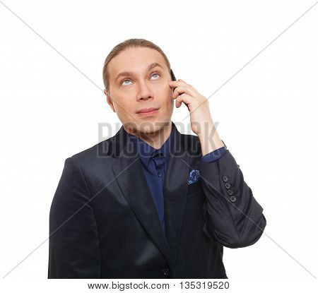 Annoyed bored man. Mistrustful businessman talking on mobile phone, tired, doubtful, looking skeptic. Annoyed face emotion. Unpleasant call, cell phone conversation. Man in suit isolated at white