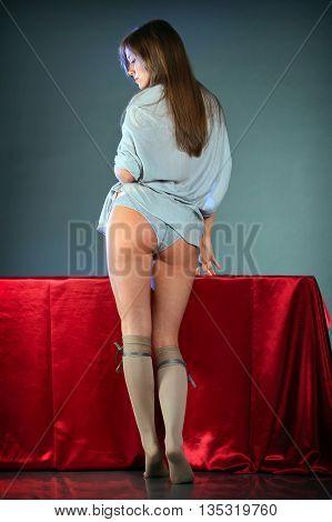 Beautiful sexy blonde girl in knee socks