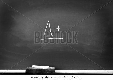Chalkboard with chalk eraser marks in white chalk A+ Sign