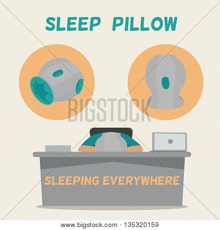 Man asleep on the job. Pillow for sleeping everywhere. Tired businessman sleeping on office table. Vector illustration.