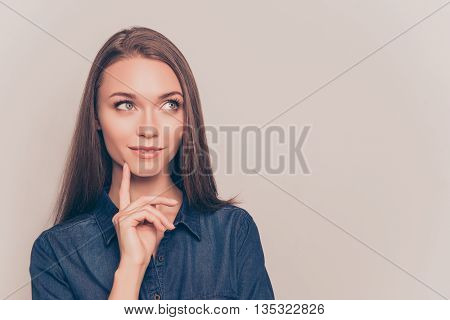 Portrait Of Attractive Minded Woman Dreaming About Something