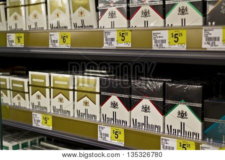Indianapolis - Circa June 2016: Packs of Marlboro Cigarettes. Marlboro is a product of the Altria Group I