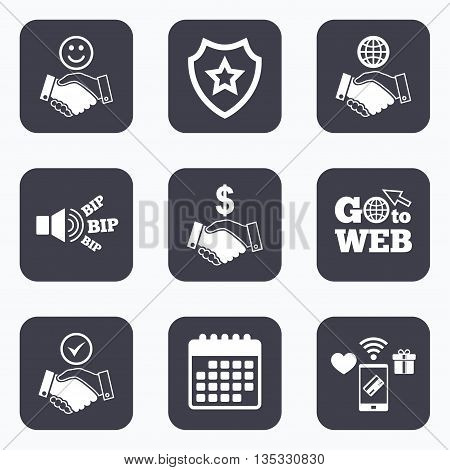 Mobile payments, wifi and calendar icons. Handshake icons. World, Smile happy face and house building symbol. Dollar cash money. Amicable agreement. Go to web symbol.