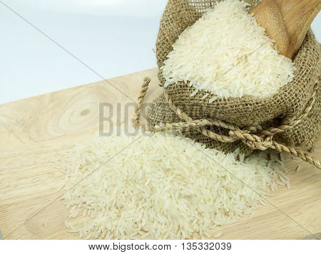 rice sack and choping broad on white background