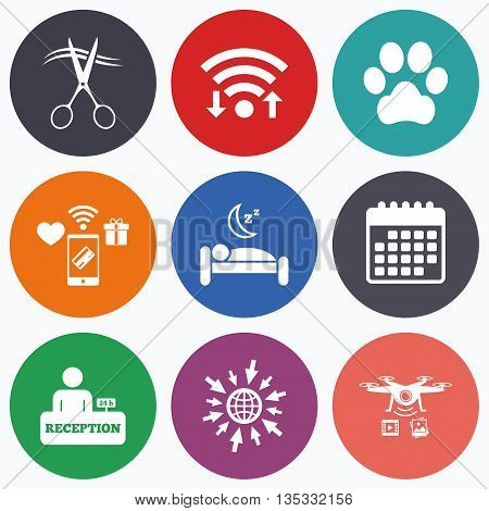 Wifi, mobile payments and drones icons. Hotel services icons. With pets allowed in room signs. Hairdresser or barbershop symbol. Reception registration table. Quiet sleep. Calendar symbol.