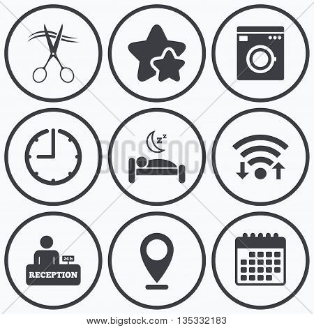 Clock, wifi and stars icons. Hotel services icons. Washing machine or laundry sign. Hairdresser or barbershop symbol. Reception registration table. Quiet sleep. Calendar symbol.