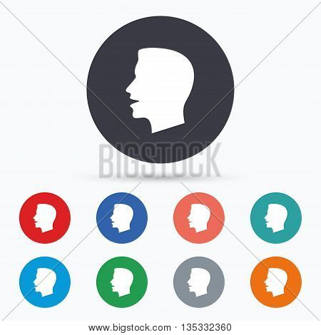 Talk or speak icon. Loud noise symbol. Flat talk icon. Simple design talk symbol. Talk graphic element. Circle buttons with talk icon. Vector