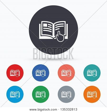 Instruction sign icon. Manual book symbol. Flat instructions icon. Simple design instructions symbol. Instructions graphic element. Circle buttons with instructions icon. Vector
