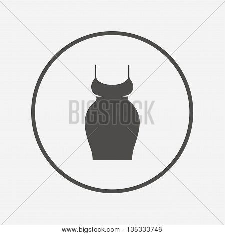 Pregnant woman dress sign icon. Maternity symbol Flat maternity icon. Simple design maternity symbol. Maternity graphic element. Round button with flat maternity icon. Vector