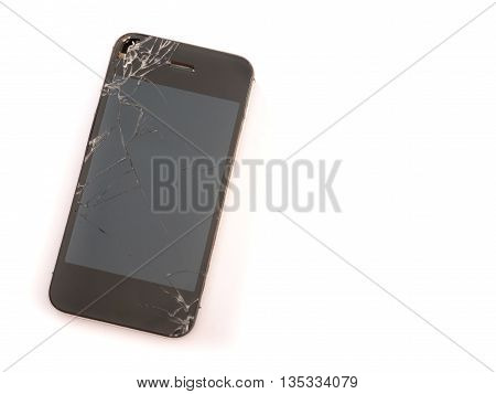 broken sreen mobile phone on white background