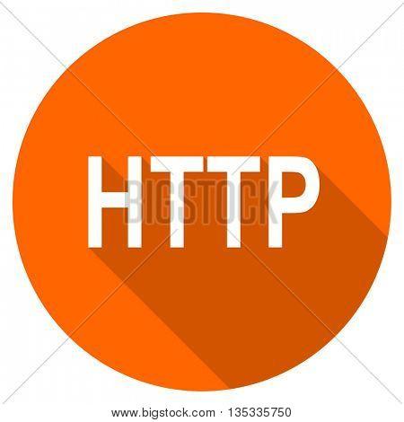 http vector icon, orange circle flat design internet button, web and mobile app illustration