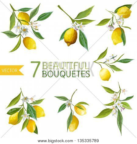 Vintage Lemons, Flowers and Leaves. Lemon Bouquet. Watercolor Style Lemons. Vector Fruit Background.