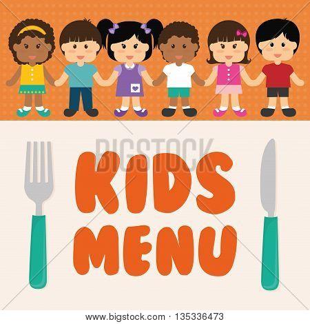 Kids menu design over colorful background, vector illustration.