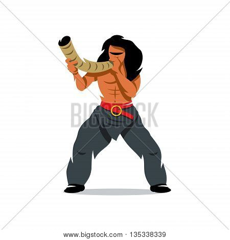Barbarian Warrior blowing the horn. Isolated on a white background