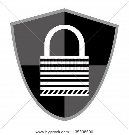 black and grey shield with striped key lock in the center vector illustration