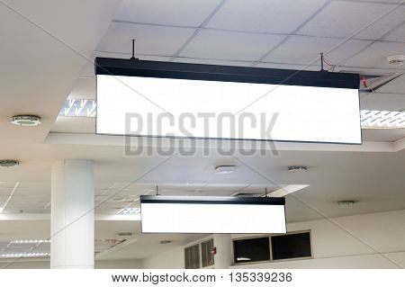 Empty office sign hanging on ceiling stock photo