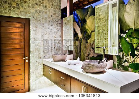 Traditional Washroom With Natural Items And Decorations