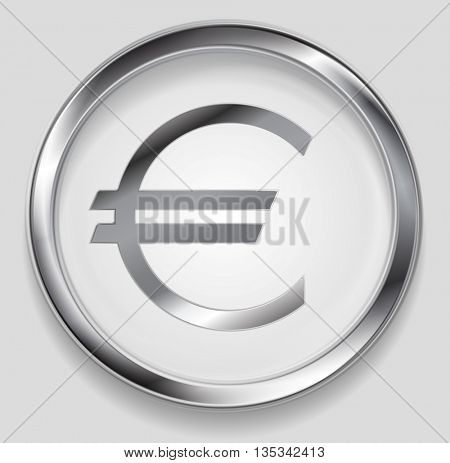 Concept metallic euro symbol logo in round button. Vector silver background