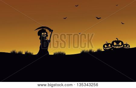 Halloween warlock and pumpkins silhouette at afternoon