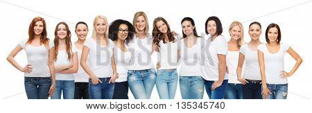 friendship, diversity, body positive and people concept - group of happy women of different age size and ethnicity in white t-shirts hugging