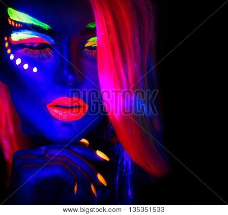 Fashion model woman in neon light, portrait of beautiful model girl with fluorescent make-up, Body Art design of female disco dancer posing in UV, painted face, colorful make up, over black background