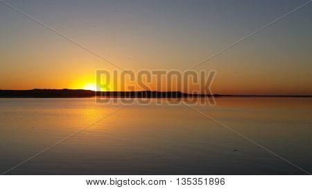Yellow and orange sunset on the Missouri River