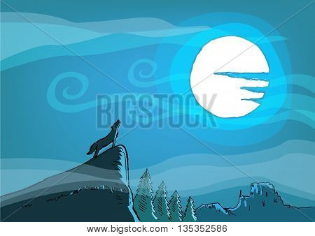 A Wild Dog or Wolf howls on a cliff during a full moon. Editable Clip art.