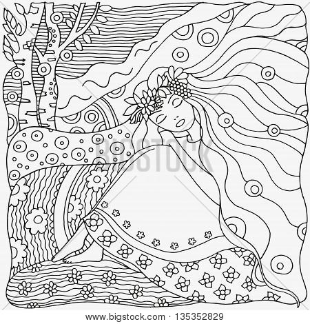 Black and white abstract fantasy picture. Young girl wreath birch village landscape. Eco theme. Pattern for coloring book. Hand-drawn ethnic retro doodle vector zentangle tribal elements