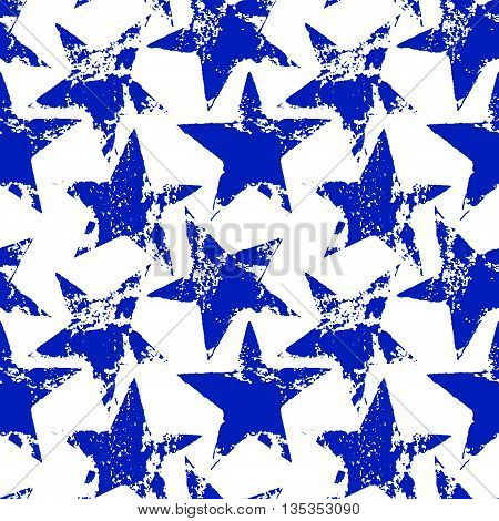 Blue and white worn grunge stars seamless pattern, vector background