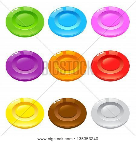 Vector stock of round colorful hard candy with different flavor
