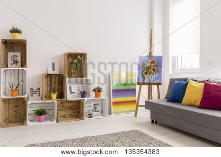 Sunflowers In White Room
