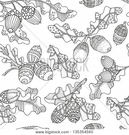 Seamleess patter with artistically hand drawn acorns and oak leaves. Pattern for coloring book. Ethnic floral doodle zentangle tribal design elements. Black and white. Made by trace from sketch.