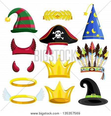 Birthday party photo booth props for festive or masquerade. Devil horn, halo, crown, pirate hat, crown, magician hat, Indian feathers, hat magician. Props photo vector isolated. Devil horn for photo. Birthday cartoon props. Cartoon halo, crowm, pirate hat poster