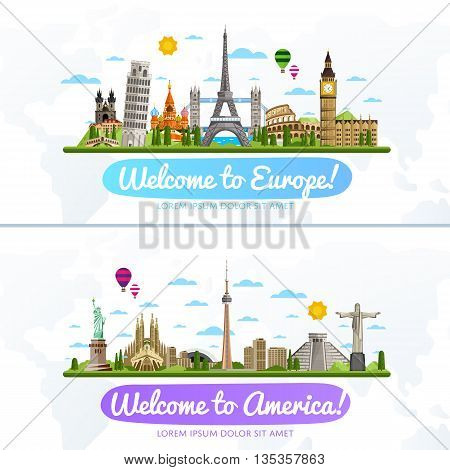 Welcome to Europe and America travel flat vector illustration. Journey around the world. World traveling concept. Europe travel and America travel landmark banners. Worldwide discover. Travel concept. World travel background. Travel banner. Time to travel