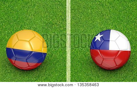 Team balls for Colombia vs Chile football tournament match, 3D rendering