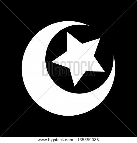 Sign moon and star. White icon isolated on black background. Logo for goodnight. Monochrome light silhouette. Islamic symbol. Emblem of muslim. Stock vector illustration