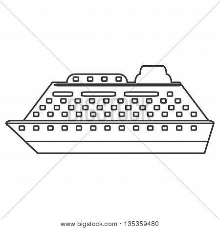 simple black line cruiseship icon vector illustration